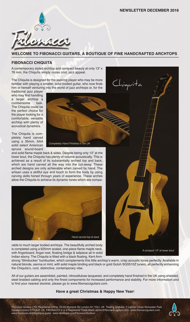 FIBONACCI GUITARS DECEMBER 2016 NEWSLETT