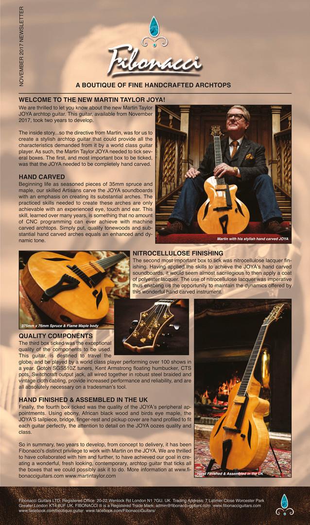 FIBONACCI GUITARS NOVEMBER 2017 NEWSLETT