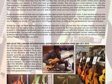 FIBONACCI GUITARS OCTOBER 2018 NEWSLETTER!