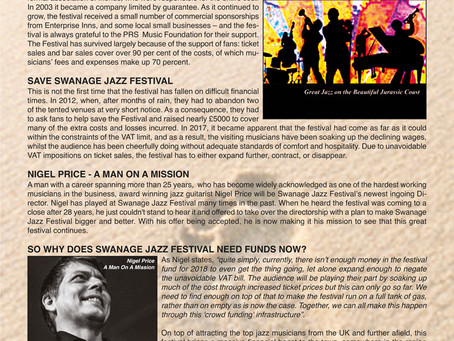 WELCOME TO OUR OCTOBER NEWSLETTER - HELP SAVE THE SWANAGE JAZZ FESTIVAL NOW!