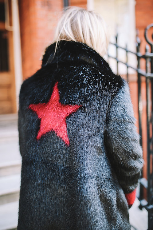 Classic Black Coat with Christmas Red Star & Single Cuff Stripe
