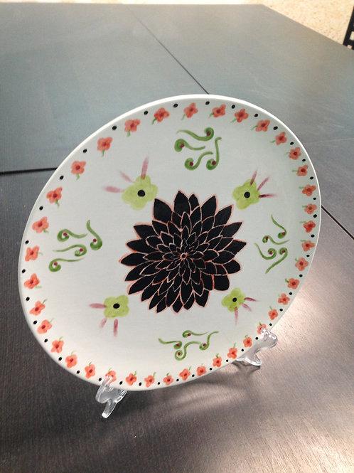 Black Flower Plate