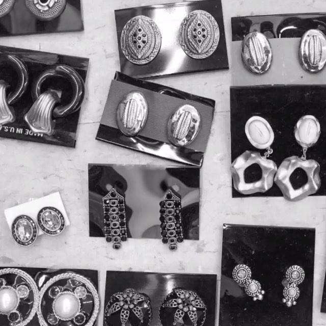 """Saturday """"clip-on"""" BLING with a retro FLAIR at our The Colony location! #jewelry #cliponearrings #shopping #bargain #deals #dallas #thrift #thriftstorefinds #thriftgiant"""