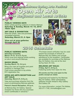 2015 March & April - Open Air Arts Schedule