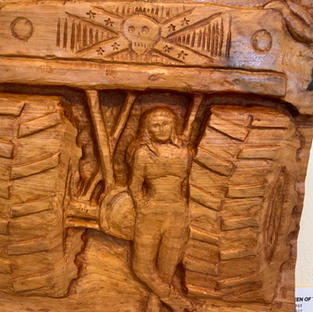 Carving in cypress - detail