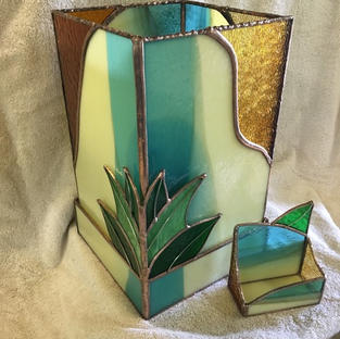Stained Glass Vase & Business Card Holder