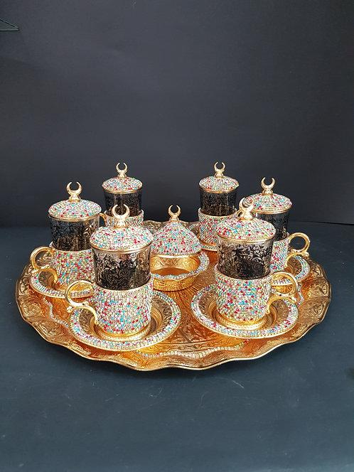 Fino set tazas doradas mosaico