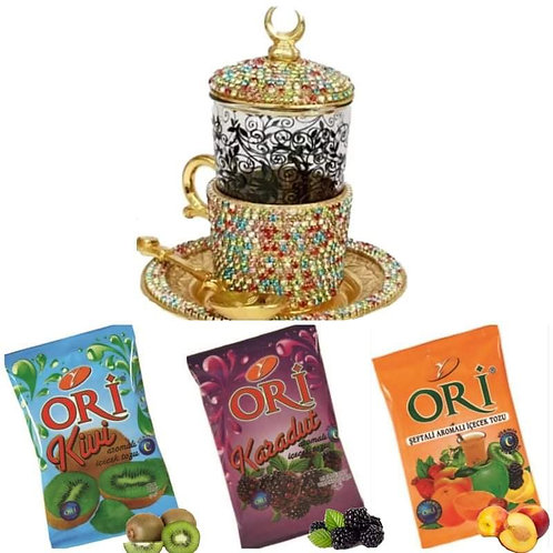 Pack Taza mosaico Dorada Swarosvki té saborizados