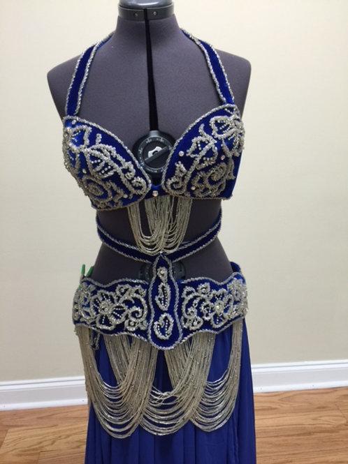 Elegant Navy Blue Velvet Egyptian