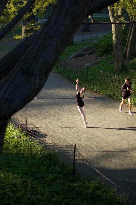 Ballerina and jogger, Central Park, 2013