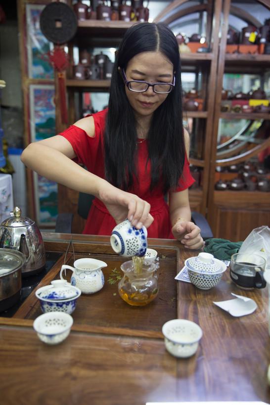 shopkeeper in a tea shop, Guangzhou, 2018
