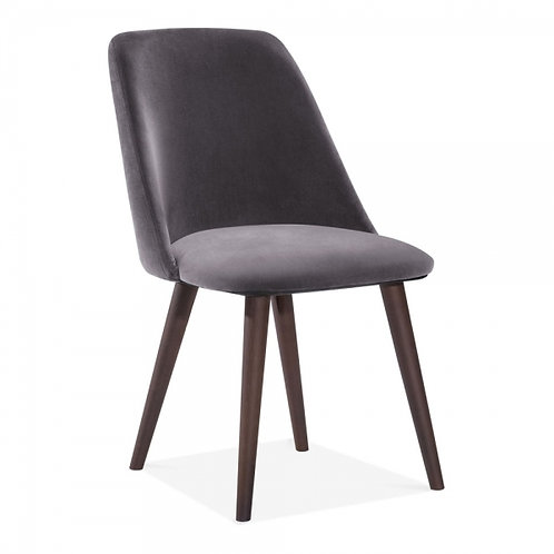 Grey Melrose Velvet Dining Side Chair -Upholstered