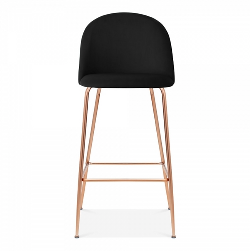Black Velvet Millennial Bar Stool - Brass, Copper or Black Leg