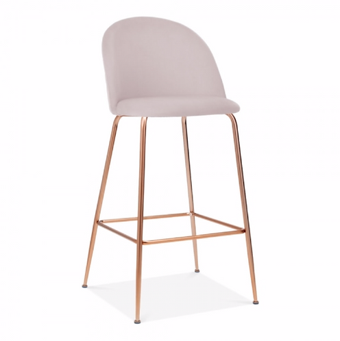 Millennial Pink Velvet - bar stool, Black leg Colours+
