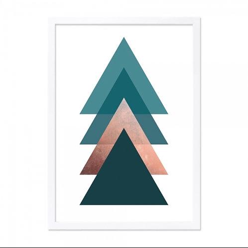 Framed Art - Arrow Print - Teal, Copper, Black