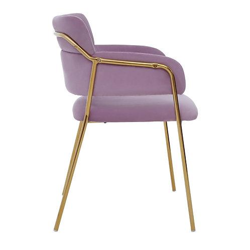 Camille Pink Velvet Dining Chair Brass Frame