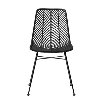 Black Rattan Dining Side Chair with black legs