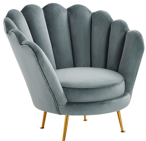 Dusty Blue Velvet Shell Accent Chair