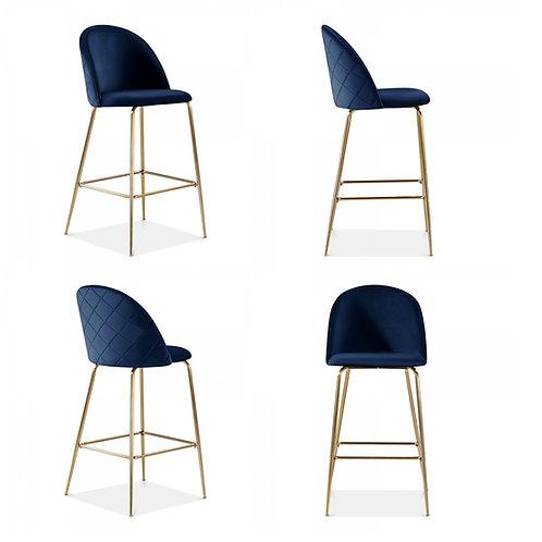 Millennial Brass Velvet Upholstered Dining Bar Stool, Royal Blue, Set of 4