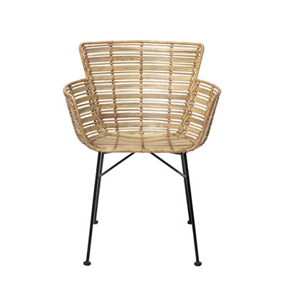 Natural Woven Cane Rattan High Back Dining ArmChair -