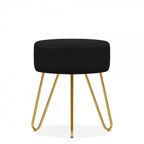 Soft Black Velvet Aeda 45cm Low Stool - Gold Leg Base