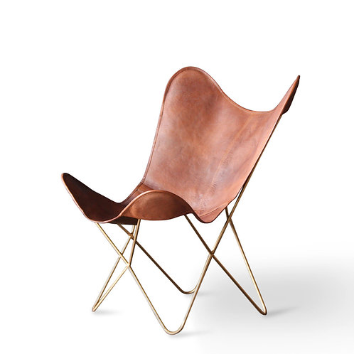 Natural Leather Butterfly Chair Gold Frame