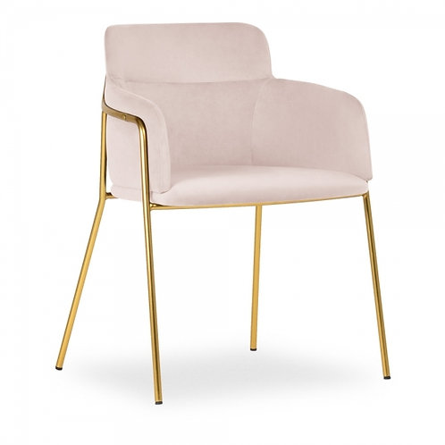 Sophia Blush Pink Velvet Dining Chair Brass Frame