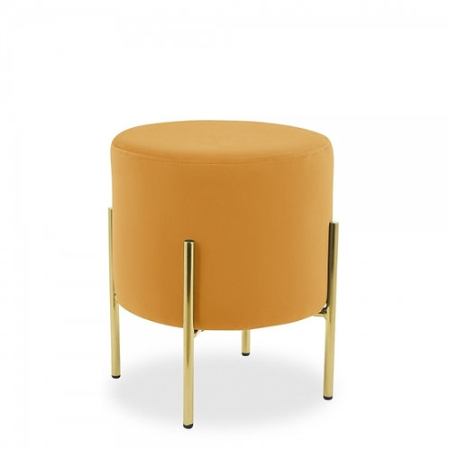 Asha Velvet Stool 48cm H - Brass base - Terracotta Colours+