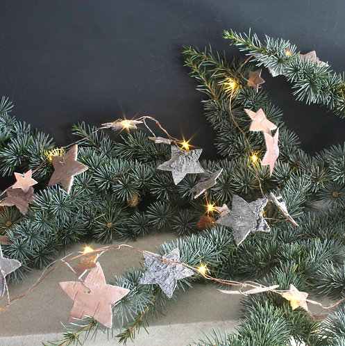 Christmas - Birch Bark Star Garland Lights