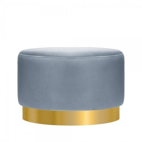 Powder Blue -Velvet Ottoman 40cm Stool - Gold base