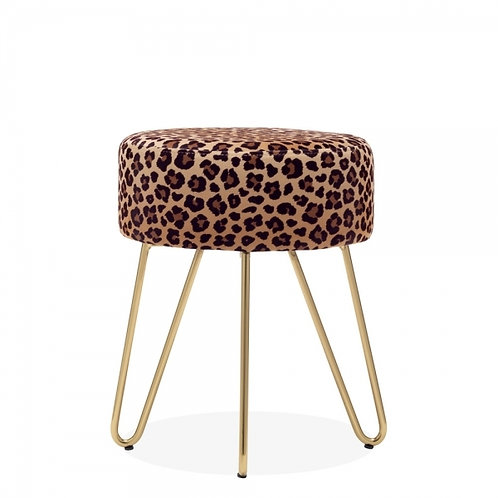 Aeda Leopard Velvet 45cm Low Stool - Gold Leg Base