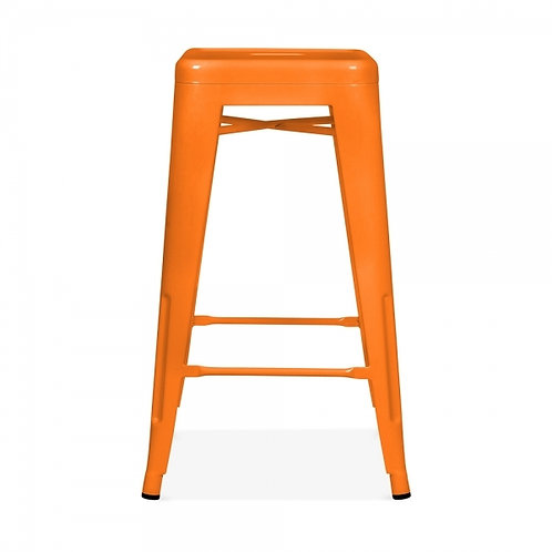 Orange Industrial Metal Bar Stool - 75cm