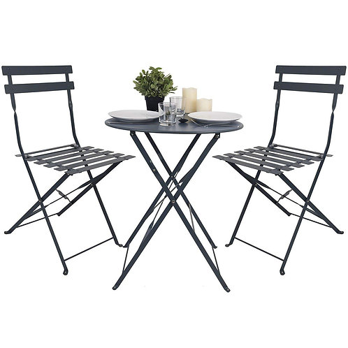 Bistro Patio Set - 2 Chairs, Circular Table - Colours+6