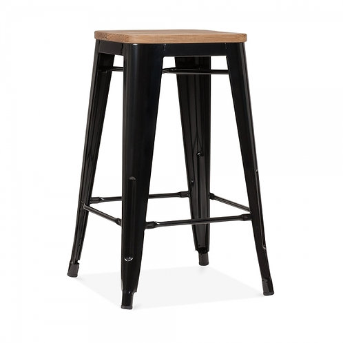 Wood Top Industrial Stool, Seat Height+