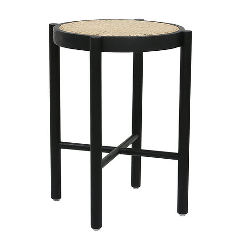 Japandi Black cane webbing stool or side table