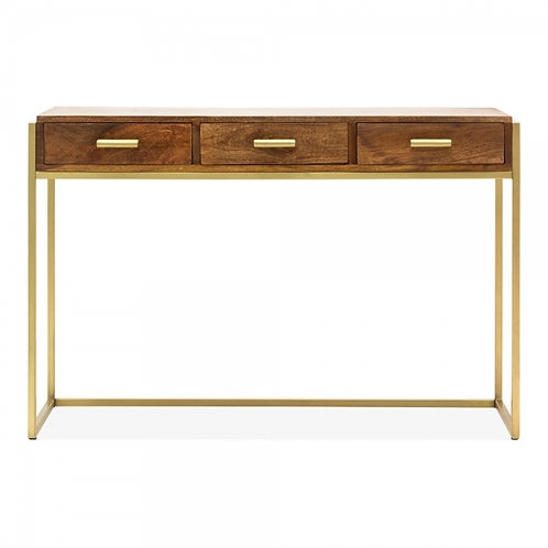 Kelly Natural Wood - brass, console desk, side table, 3 drawers