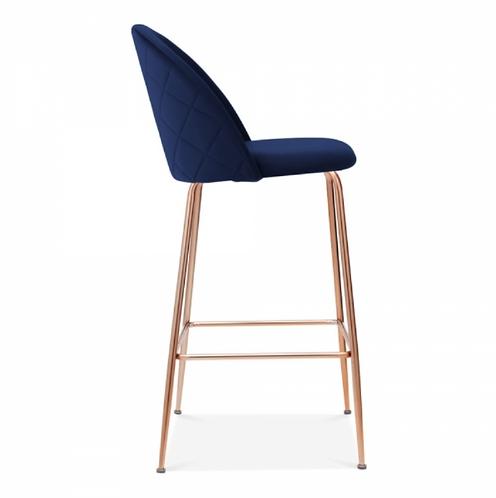 Millennial Blue Velvet Bar Stool - Copper leg