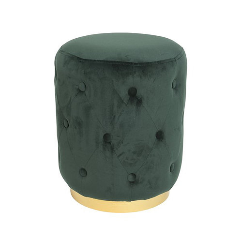 Green Velvet -  Quilted Stool Gold Trim
