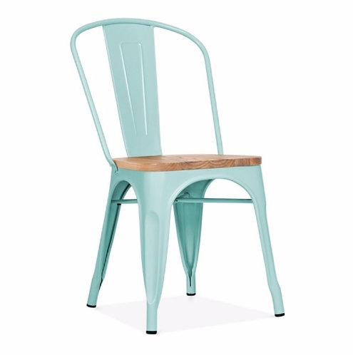 Pastel Wood Metal Cafe dining chair