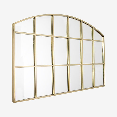 Gold Window Pane Arched Mirror