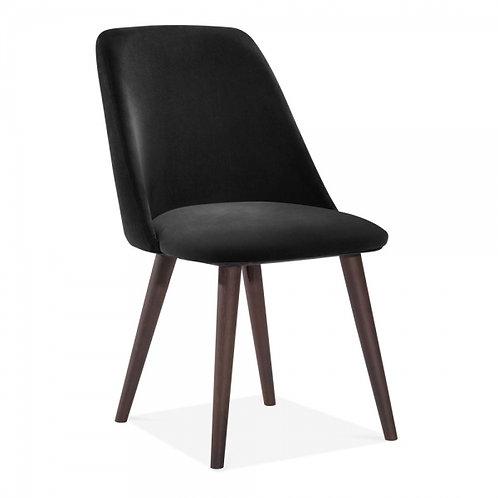 Black Melrose Velvet Dining Side Chair -Upholstered
