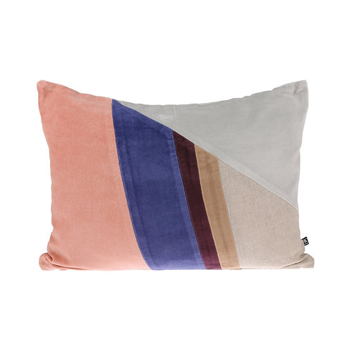 Velvet patch multicolour cushion (35x50) pink