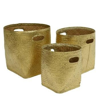Gold Natural Woven Storage Baskets - 3 x sizes