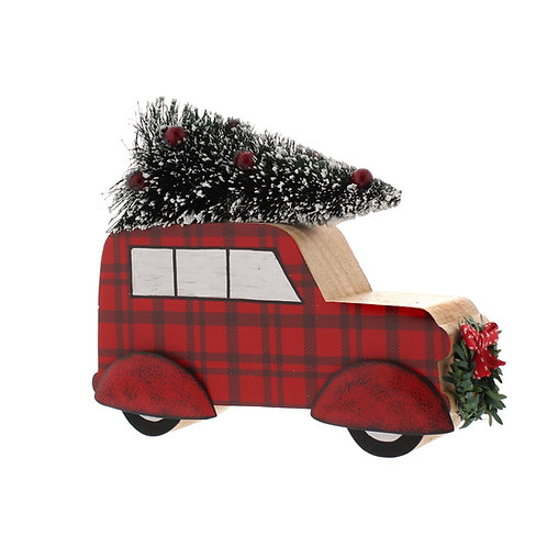 Scandi Wooden Car Faux Tree - Christmas  Decoration