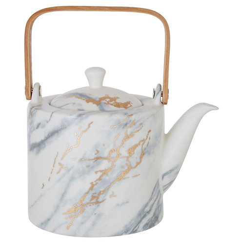 Wabi Sabi Teapot - Japandi Style Marble and Gold Porcelain Teapot