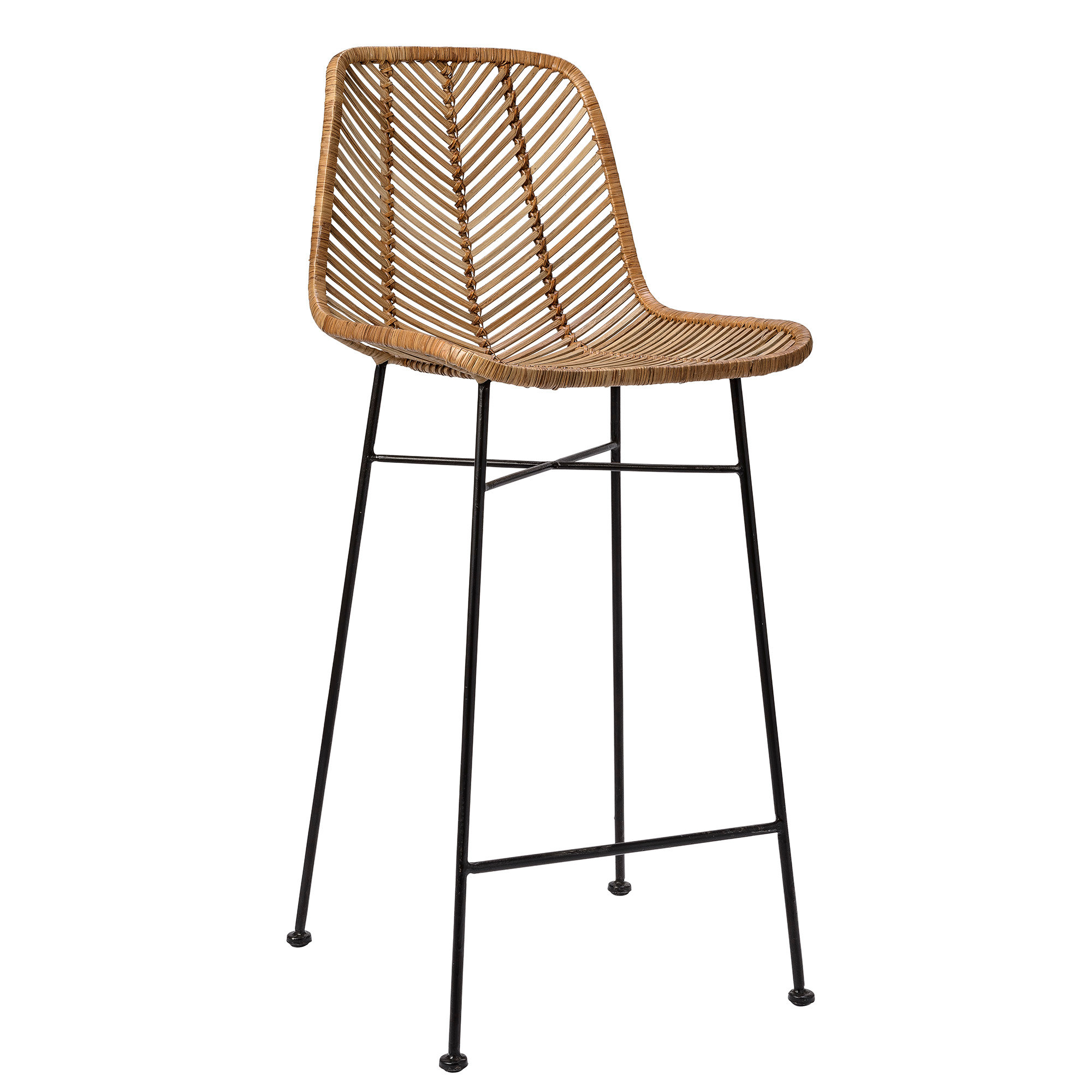 Picture of: Black Woven Rattan Bar Stool