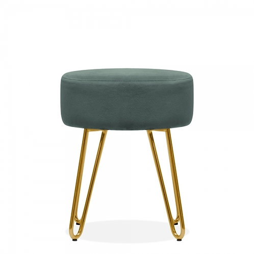Sage Green Velvet Aeda 45cm Low Stool - Gold Leg Base