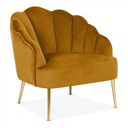Mustard Velvet Scallop Bedroom Chair