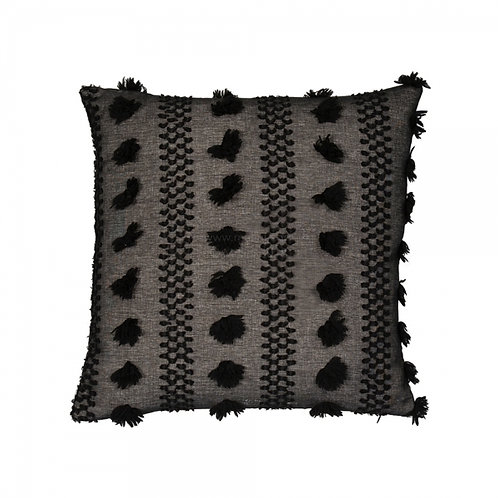 Black Tassled Textured Cushion