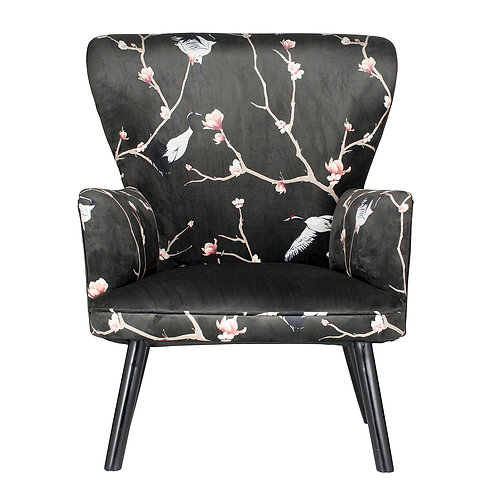 Japanese Print Black Pink Velvet Accent Chair